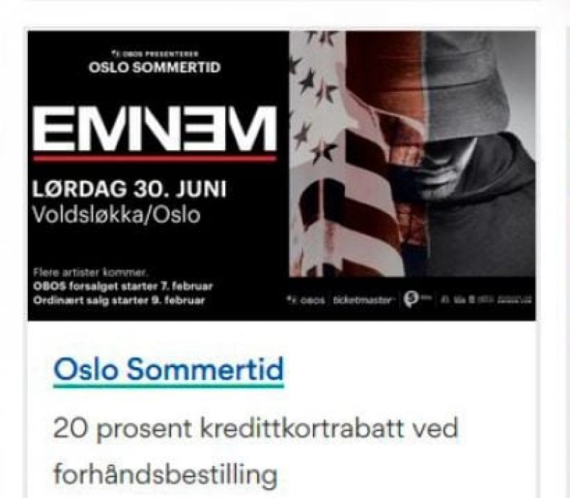 Obos med Eminem-konsert til høg rente
